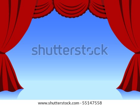 Theatrical curtains - stock vector