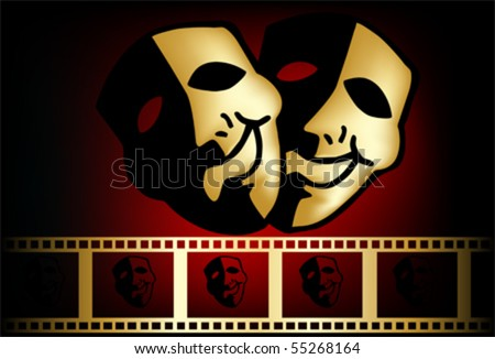 theatrical mask of tragedy and comedy vector - stock vector