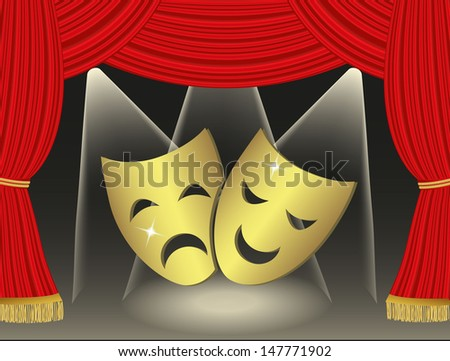Theatrical masks on red curtains background
