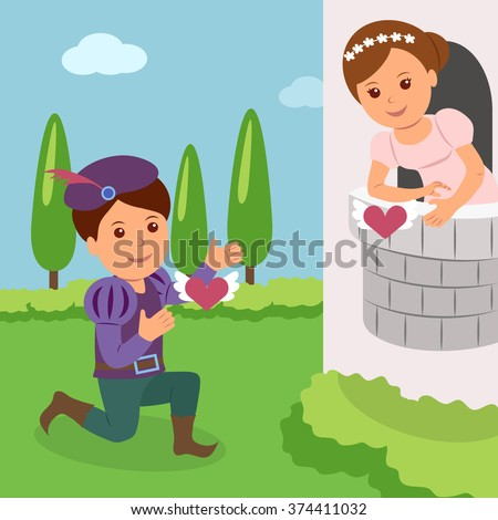 Theatrical performance of Romeo and Juliet. Concept World Theatre Day - stock vector