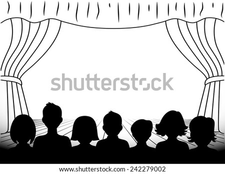 theatrical scene silhouettes of people monochrome - stock vector