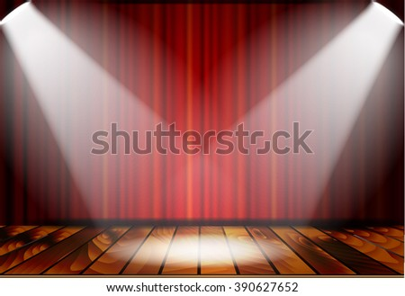 Theatrical scene with red curtains and wooden floor. Stock vector illustration. - stock vector