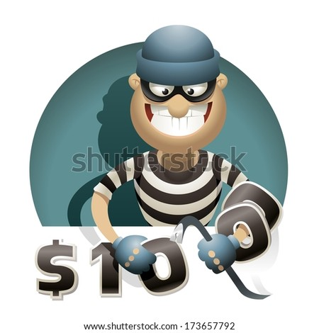 Theft Money. Thief with a crowbar steals money, putting zeros on his hand. - stock vector