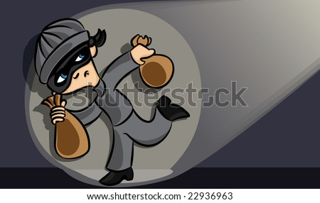 Theif Caught in the Act - stock vector