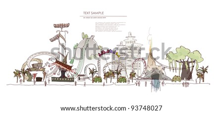 Theme park with rides - stock vector