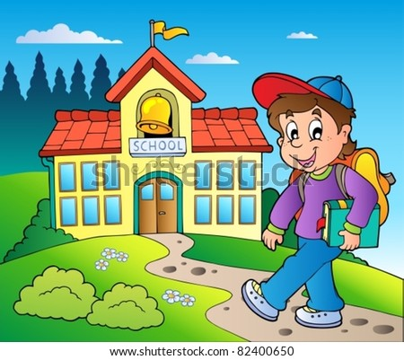 Theme with boy and school building - vector illustration.
