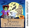 Theme with Happy Halloween banner 4 - vector illustration. - stock photo
