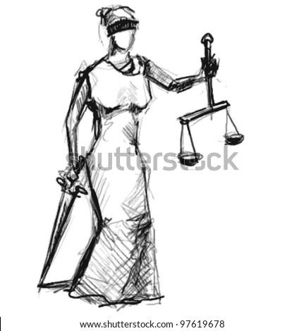 Themis (Femida). A goddess of justice sketch vector illustration - stock vector