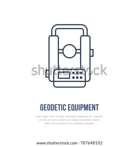 Theodolite Geological Survey Engineering Vector Flat Line Icon Geodetic Equipment Geology Research Illustration