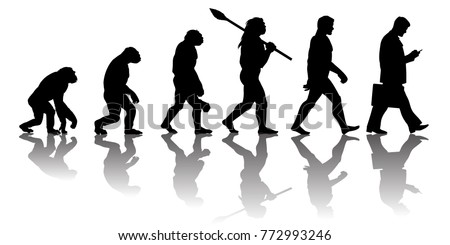 Theory of evolution of man. Silhouette with transparent reflection. Human development from monkey to modern businessmen with  briefcase talking on mobile phone. Vector illustration isolated on white.