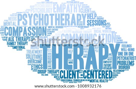 Therapy word cloud on a white background.