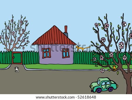 There are some cats near the house. The car stand on the road - stock vector