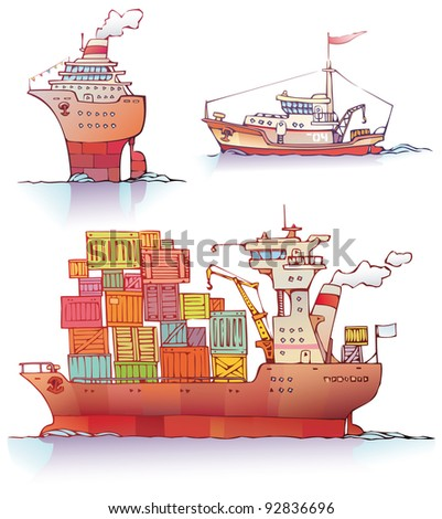 There are three type of a ships: the ocean liner, the tugboat and the bulker. Editable vector EPS v9.0 - stock vector