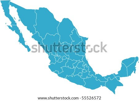 There is a map of Mexico country - stock vector