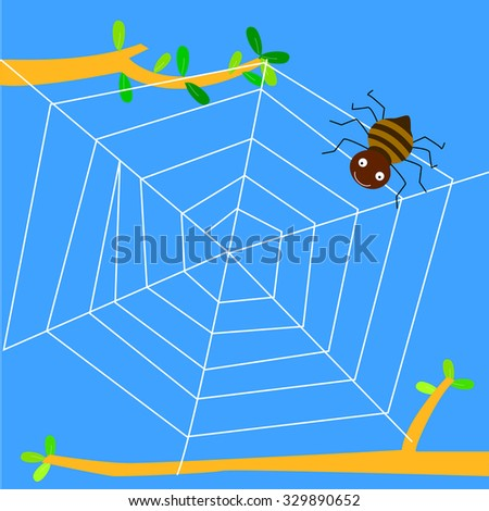 There is a spider web on a tree with a spider on it. - stock vector