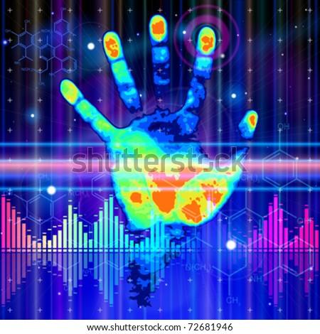 Thermal hand print, blue technology background, lights, chemical formulas & digital wave - stock vector