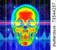 Thermal image of the human skull, blue technology background, lights, chemical formulas & digital wave - stock vector