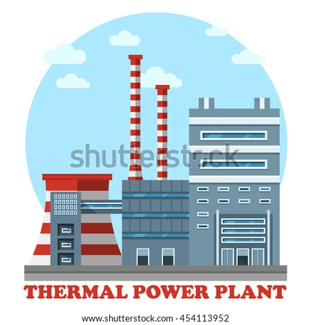 Thermal power station. Industrial power plant for heating energy to convert it to electricity using coal. Side view of cooling tower and chimney that polluting air with smoke or smog - stock vector