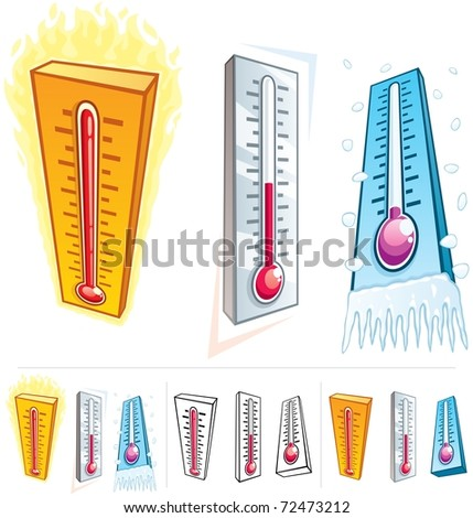 Thermometer: A thermometer in 3 different thermal conditions. Below are 3 additional versions of it. No transparency used in the vector file. The used gradients are basic linear gradients. - stock vector