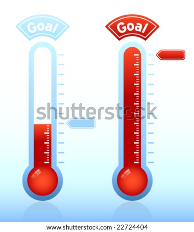 Thermometer graphic showing progress towards goal - stock vector