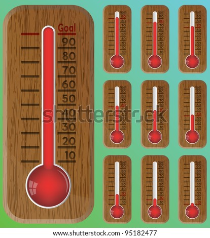 Thermometer graphic showing progress towards goal. - stock vector