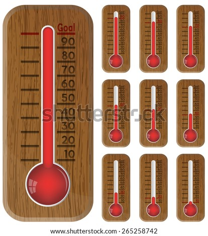 Thermometer graphic showing progress towards goal, vector, 10eps. - stock vector