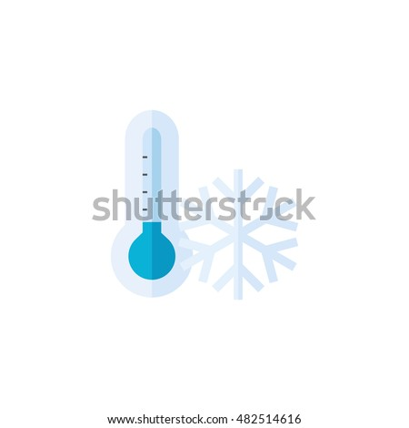 Thermometer icon in flat color style. Medical nature science temperature measure cold freezing December