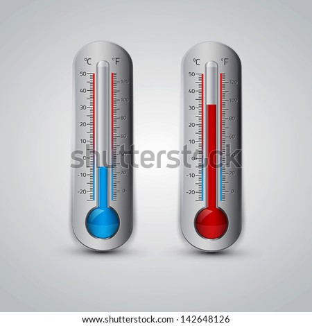 Thermometer icon. Vector. Celsius and Fahrenheit. measuring hot and cold temperature - stock vector