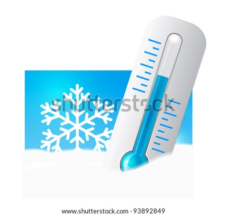 Thermometer in the snow - stock vector