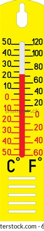 Thermometer measuring hot and cold temperature - stock vector