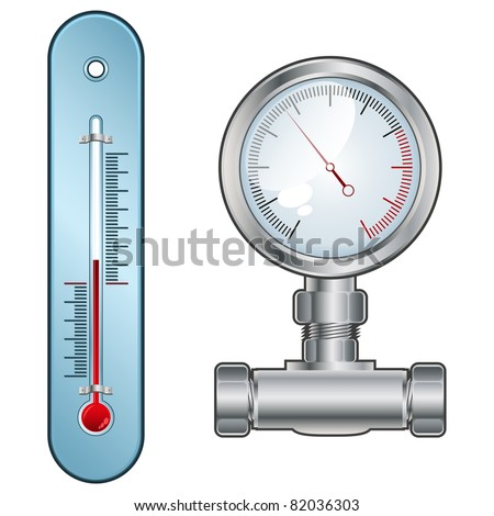 thermometer or pressure gauge - stock vector