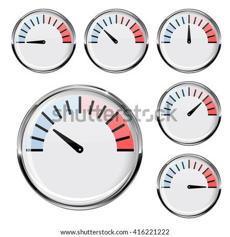 Thermometer round temperature gauge for industrial use vector