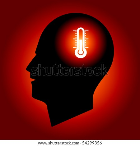 Thermometer Sign in Human Head - stock vector