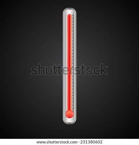 thermometer with a red scale and divisions on a black gradient field - stock vector