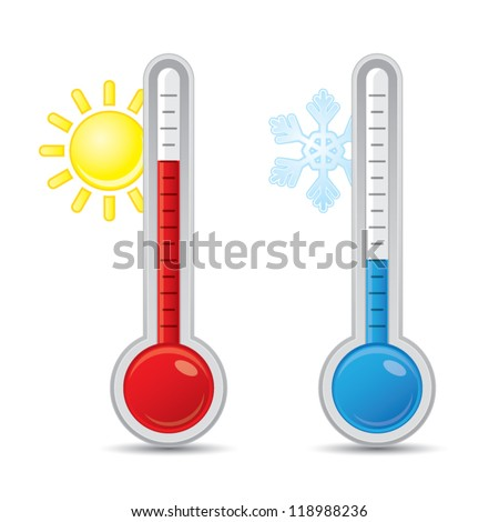 Thermometer with scale measuring heat and cold, with sun and snowflake icons, vector illustration - stock vector