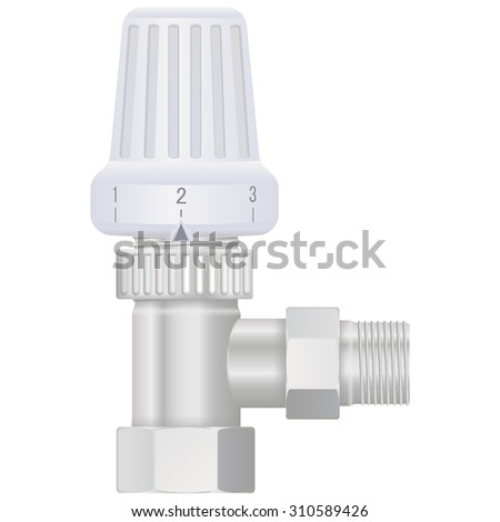 Thermostat. Water Valve. Vector isolated on white.