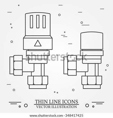 Thermostatic Radiator Valves Icons Thin Line Stock Vector 348417425