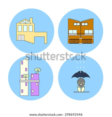 These icons are about where the people are living now, House Townhouse condominium or homeless. - stock vector
