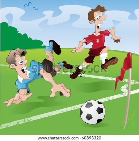 These players clearly have no regard for the rules of the beautiful game (that is soccer for all of you guys outside of europe!) - stock vector