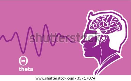 Theta Brainwave frequencies - stock vector