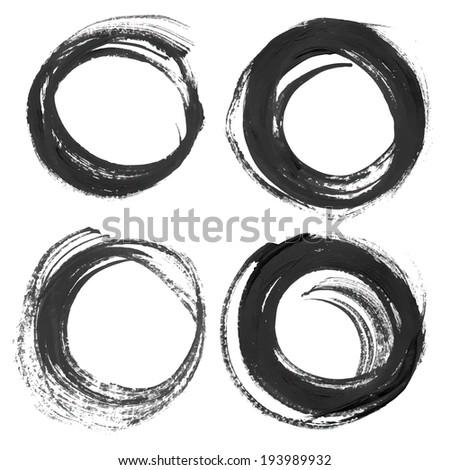 Thick black circular strokes - stock vector