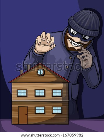 Thief about to rob a property/house, vector illustration - stock vector