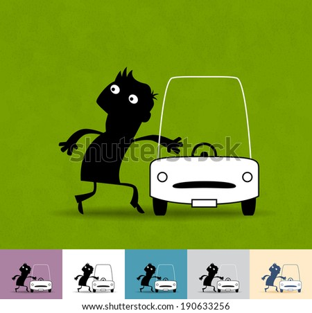 Thief. Business illustration (EPS 10). Animation friendly: the elements (legs, arms, heads etc) are in the separate layers. Seamless pattern on the background (color can be changed) - stock vector