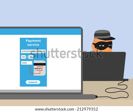 Thief connected to your laptop while you doing online payment - stock vector