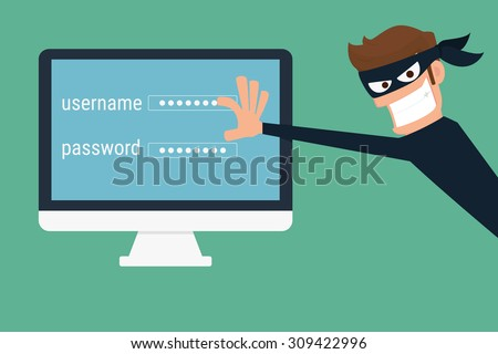 Thief. Hacker stealing sensitive data as passwords from a personal computer useful for anti phishing and internet viruses campaigns.concept hacking internet social network.Cartoon Vector Illustration. - stock vector