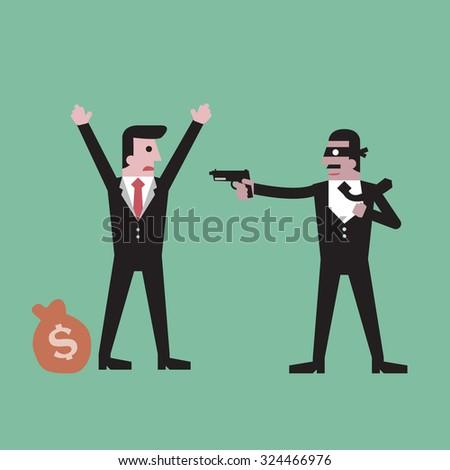 Thief  holding gun  money stealing businessman  money bag - stock vector