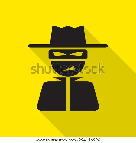 thief icon with long shadow. - stock vector