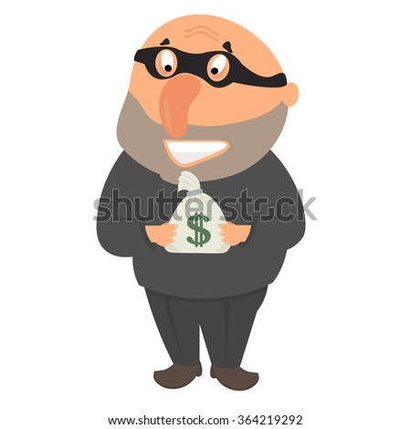 Thief in a mask after a successful robbery holding a bag of money - stock vector
