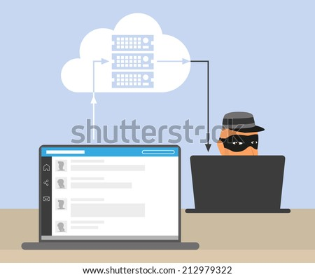 Thief is stealing an account of social networking using the virus and the bug in cloud server synchronization. conceptual illustration of information security - stock vector