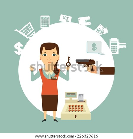 thief robs seller illustration - stock vector